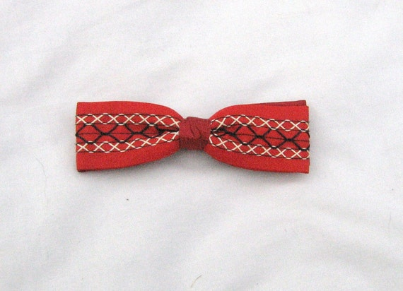 Cherry Red Stitched Vintage Bow Tie