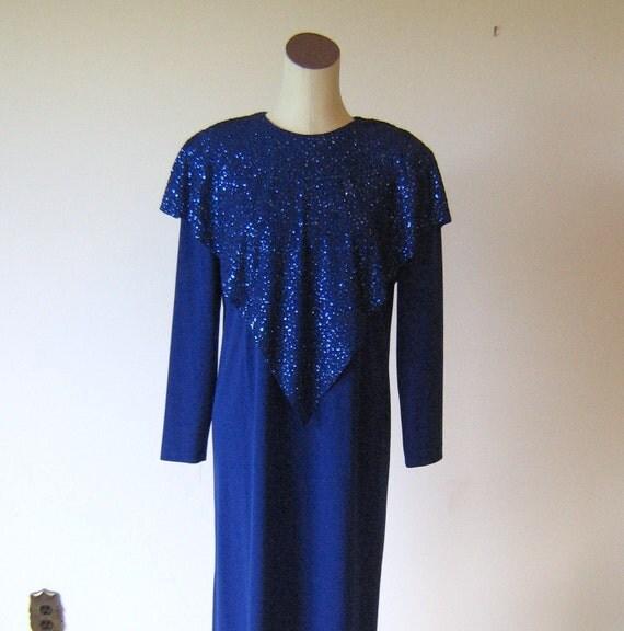 Bright Blue Glitter Sparkle Neiman Marcus Long Dress