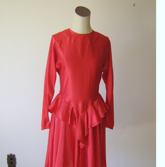 Bright Red Silky Satin Ruffle Peplum Dress
