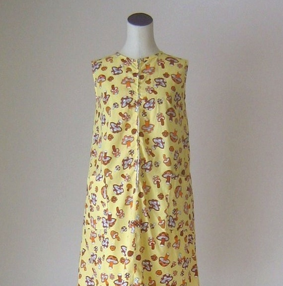 Yellow Mushroom Print  Summer Dress 1970s Hippie