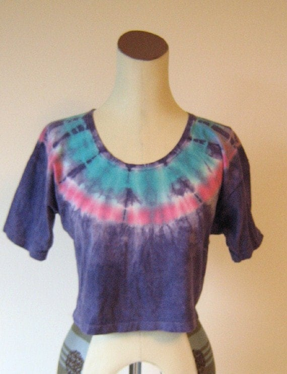 Purple Tie-Die Crop Top Shirt