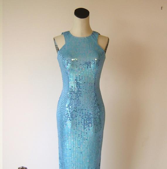 Dazzling Light Blue Mermaid Sequin Gown Diva by RetroFascination