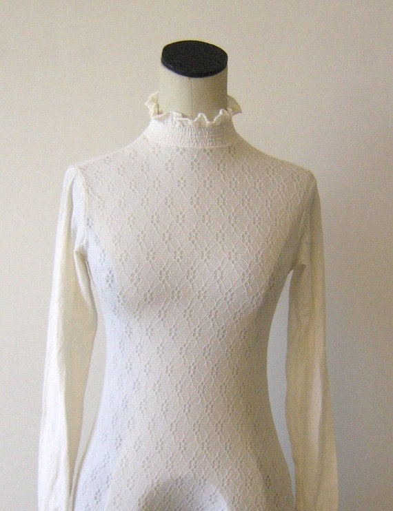 White Lacy Ruffle High Neck Bodysuit