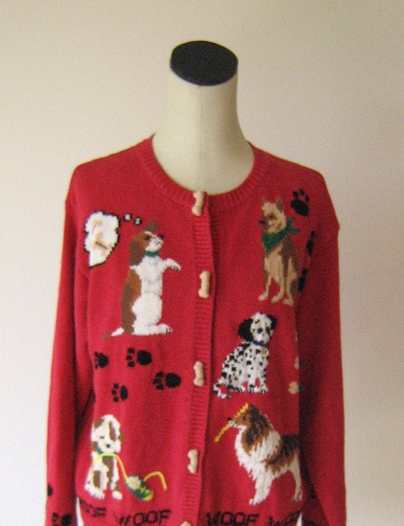 Dog Lovers Knit Cardigan Sweater Top