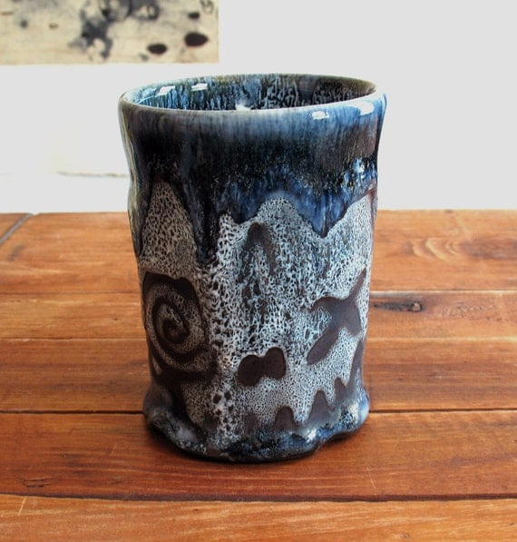 Skull Tumbler, Very Textured Stoneware Cup, 10 oz.