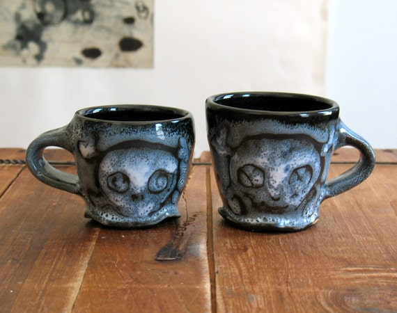 Espresso Cup Set, Skull Cups, Teacup Pair