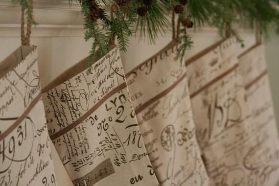 French Words Script Christmas Stocking By Wonderfullifefarm