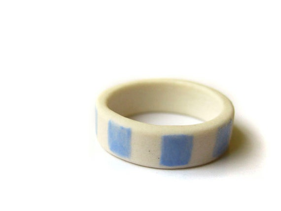 Blue Squares Porcelain Ring