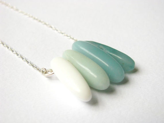 Contemporary Stone Necklace, Transitioning Amazonite and Agate Necklace