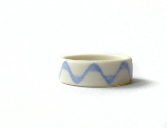 Ceramic Ring - Peaks and Valleys Porcelain Ring