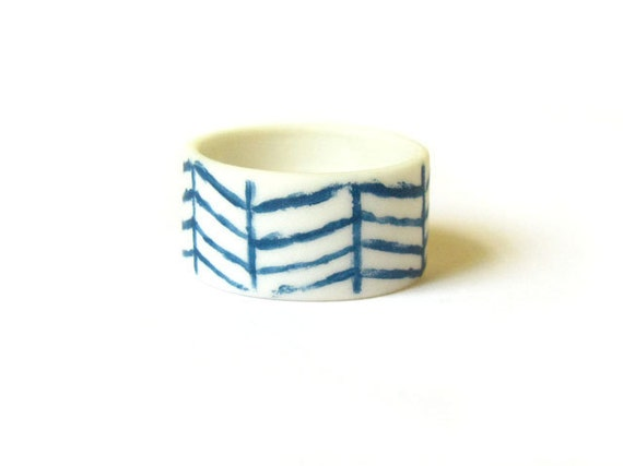 Chevron Ring - Teal Blue Pattern Porcelain Ring