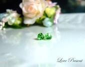 Swarovski Crystal Stud Cutie Sweet Heart Earrings - Color Peridot  - Hypoallergenic or Metal post - Choose your post