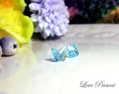 Swarovski Crystal Stud Beautiful Butterfly Earrings - Color Clear Crystal Aquamarine - Hypoallergenic or Metal post - Choose your post