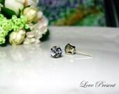 Swarovski Crystal 1 carat Round Rhinestone Pierced Post Earrings - Modern Minimalist Jewelry for Everyday - Color Black Diamond