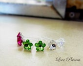 Swarovski Crystal Stud Daisy Tansy Earrings - Minimalist Jewelry - Hypoallergenic or Metal post - Choose your post and color