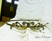 Crown Princess Headband art nouveau vintage style elegant bridal hair accessory - Color Sliver and Anti Brass