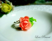 Christmas Lovely Coral Pink Rose Adjustable Size Ring