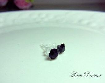 Swarovski Crystal Teeny Tiny Stud Cartilage Earrings Post - Color Black Jet - Hypoallergenic or Metal post - Choose your post