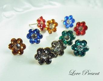 Colorful Cute Daisy Flower Swarovski Crystal earrings stud style (custom made) - choose your color