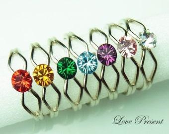 Rainbow RING - Colorful Rainbow Elegant Swarovski Crystal Adjustable Ring - Choose your color