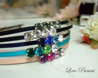 Bridesmaids Chic Ribbon Headband with Swarovski Crystal at Side (Custom Made) - Color Clear, Black, Amethyst, Sapphire & Turquoise