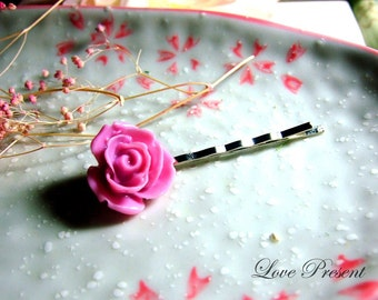 Christmas PIF - Lovely Cute Pink Rose Bobby Pin (Custom made) - Crazy Love Special Sales