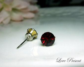 Swarovski Crystal 0.7cm Round Rhinestone Pierced Post Earrings - Modern Minimalist Jewelry for Everyday - Color Garnet for January
