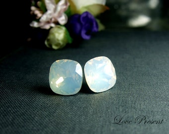 Christmas Wedding Special Gift - Bridal Opal Earrings - Grand Elegant Square Swarovski Crystal earrings stud style - Color White Opal