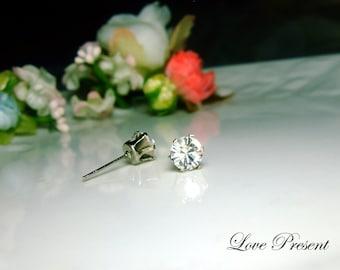 Swarovski Crystal 0.6cm Round Rhinestone Pierced Post Earrings - Modern Minimalist Jewelry for Everyday - Color Clear Crystal