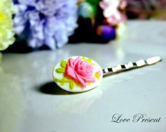 Christmas Elegant Flower Pink Rose Cameo Bobby Pin (Custom made)
