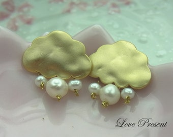 icloud Spring cloud earrings with Mini Pearls rain (Custom Made) - 925 Sterling Sliver Post