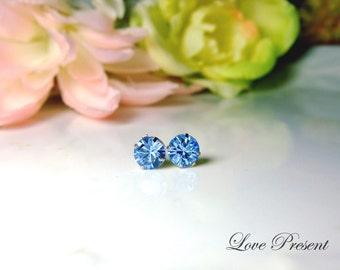 0.5 Carat Swarovski Crystal stud earrings style Metal base - Color Light Sapphire