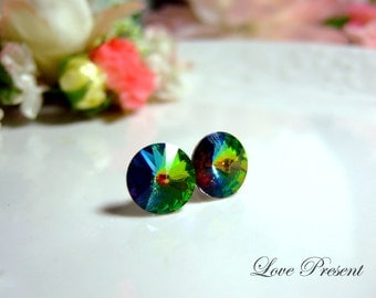 Swarovski Crystal Stud Grand Button Chic Earrings - Color Vitrail Medium F - Hypoallergenic or Metal post - Choose your post