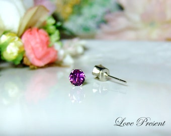 Swarovski Crystal 0.5cm Petite Round Rhinestone Pierced Post Earrings - Modern Minimalist Jewelry for Everyday - Color Amethyst for February