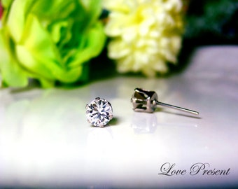 Swarovski Crystal 0.5cm Petite Round Rhinestone Pierced Post Earrings - Modern Minimalist Jewelry for Everyday - Color Clear Crystal