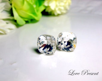 Bridal Earrings Jewelry Sparky Grand Elegant Square Swarovski Crystal earrings stud style