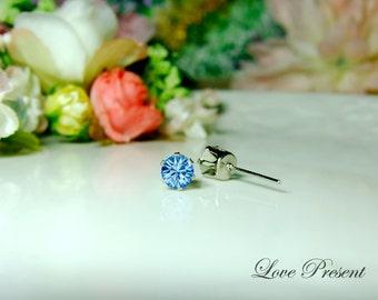 Swarovski Crystal 0.5cm Petite Round Rhinestone Pierced Post Earrings - Modern Minimalist Jewelry for Everyday - Color Light Sapphire