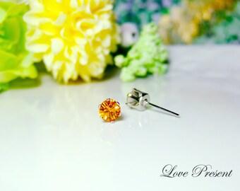Swarovski Crystal 0.5cm Petite Round Rhinestone Pierced Post Earrings - Modern Minimalist Jewelry for Everyday - Color Topaz  for November