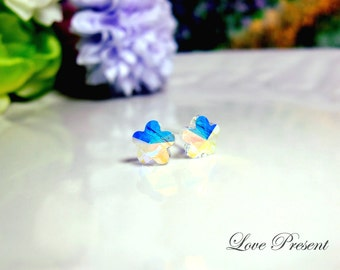 Grand Swarovski Crystal Stud Daisy Tansy Earrings - Color Aurora Boreale - Hypoallergenic or Metal post - Choose your post