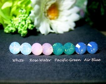 Black Friday Swarovski Crystal Opal Stud Earrings Post - Hypoallergenic or Metal post - Choose your post - Choose your color