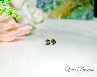 PIF - Swarovski Crystal Stud Tiny Teeny Little Mini Cartilage Earrings - Color Smoky Quartz - Hypoallergenic or Metal - Choose your post