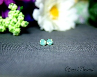Cyber Monday Sale PIF - Swarovski Crystal Stud Tiny Teeny Little Mini Cartilage Earrings - Color Green Opal - Hypoallergenic or Metal