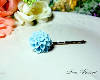 Grand Baby Blue Pompon Daisy Bobby Pin (Custom made) - Special Love Sales
