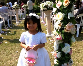 Bridesmaid n Flower Girl Headband with Swarovski Crystal - Color Chocolate,Navy,Fuchsia,Rose,White, Baby Pink, Vintage Pink,Black & Ivory
