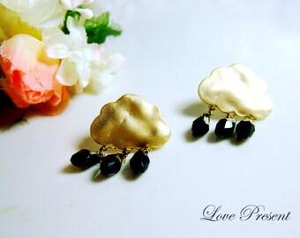 Rare Rock n Roll Mini rain earrings with Swarovski Crystal earrings stud style - 925 Sterling Silver Post