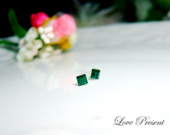 PIF - Swarovski Crystal Stud Tiny Teeny Square Cartilage Earrings - Color Emerald - Hypoallergenic or Metal post - Choose your post