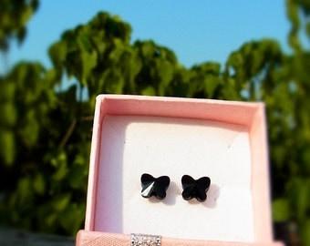 Swarovski Crystal Stud Beautiful Petite Butterfly Earrings - Color Black Jet - Hypoallergenic or Metal post - Choose your post