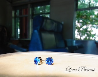 Swarovski Crystal Stud Typical 1.25 Carat Pierced Earrings - Bridesmaid Gift. Simple Modern Jewelry - Choose your color
