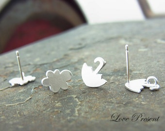 Twins Happy Petite umbrella and icloud earrings stud style Rihanna - 925 Sterling Silver Post - Choose your style