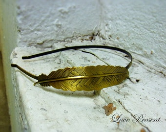 Antique Feather Headband art nouveau vintage style elegant bridal hair accessory - Color Anti Brass and Sliver